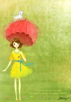 우산쓴 소녀