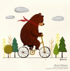 Riding on a bicycle